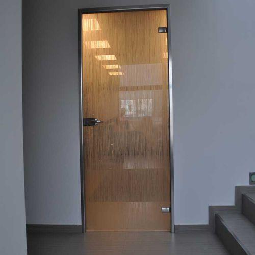 puerta de interior / abatible / de vidrio / de aluminio
