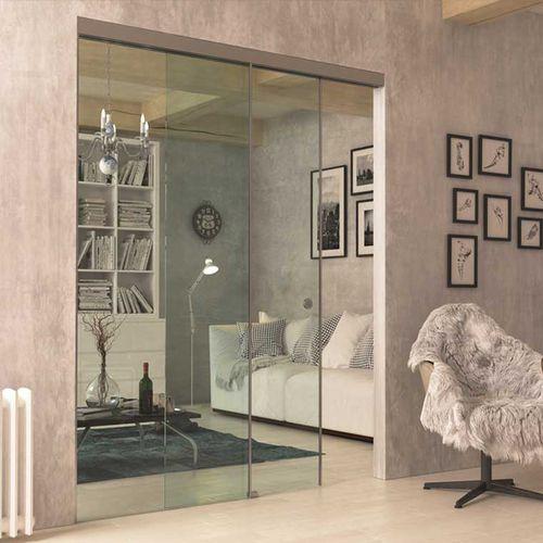 puerta de interior / corredera / de vidrio / de aluminio