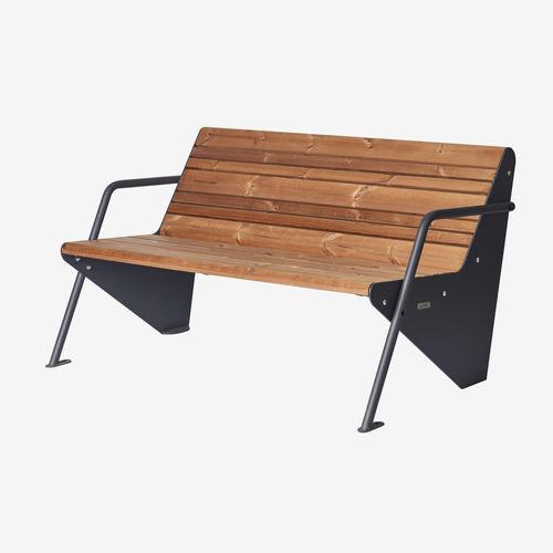 banco público / moderno / de madera pintada / de acero con revestimiento en polvo