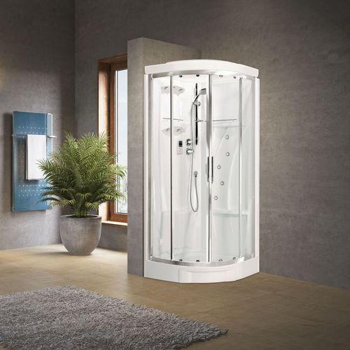 cabina de ducha multiusos / de vidrio / de esquina / con puerta corredera