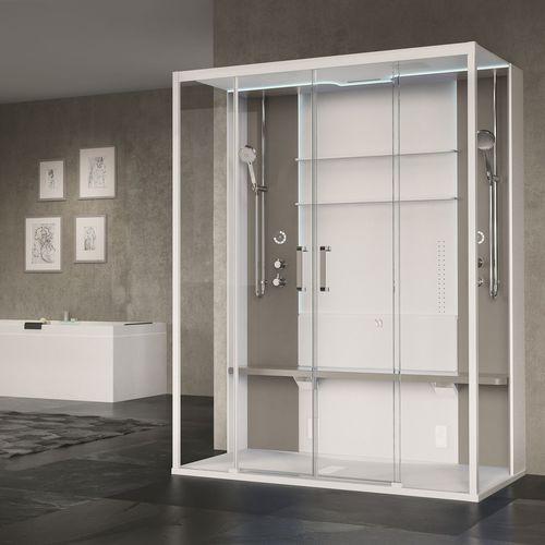 cabina de ducha multiusos / de vapor / hidromasaje / de vidrio