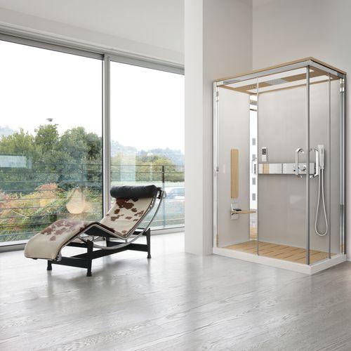 cabina de ducha hidromasaje / multiusos / de vidrio / de esquina