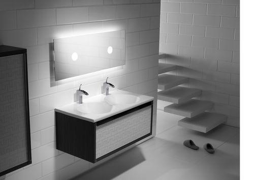 Mueble de lavabo doble / moderno / de madera / suspendido VERANDA ROCA