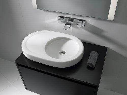 Lavabo sobre encimera / redondo / de cerámica / moderno ORBITA ROCA