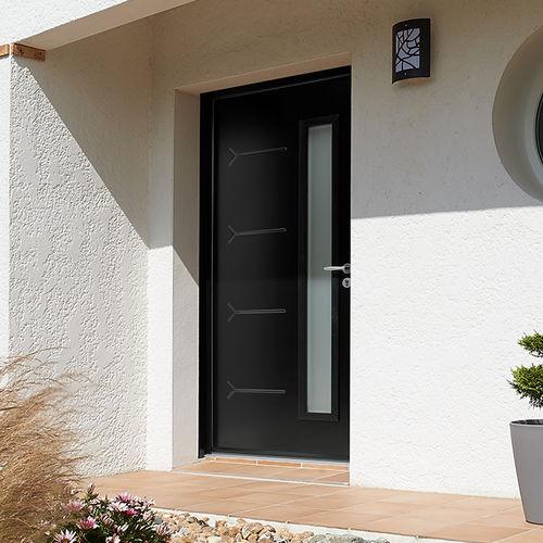 puerta de entrada / abatible / de acero / semividriada
