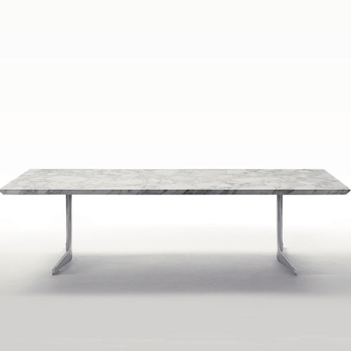 mesa de comedor moderna / de metal / de madera lacada / de madera tintada