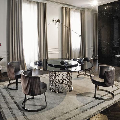 mesa moderna / de vidrio / de metal / de mármol