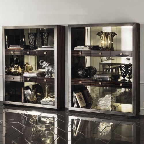 vitrina moderna / de vidrio / de madera
