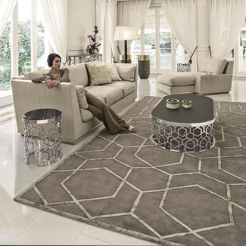 alfombra moderna / con motivos geométricos / de lana / de seda