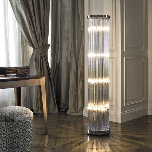 lámpara de pie / moderna / de cromo / de cristal