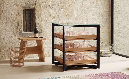 estantería moderna / de madera / de metal / de vidrio