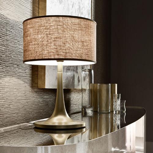 lámpara de mesa / clásica / de aluminio / de tejido