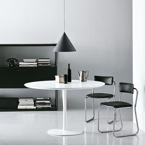 mesa moderna / de aluminio lacado / de aluminio / redonda