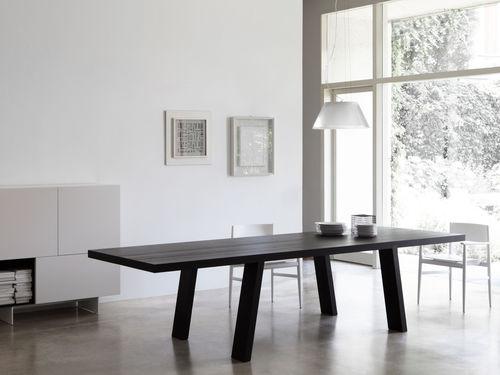 mesa moderna / de madera maciza / de hemlock / rectangular