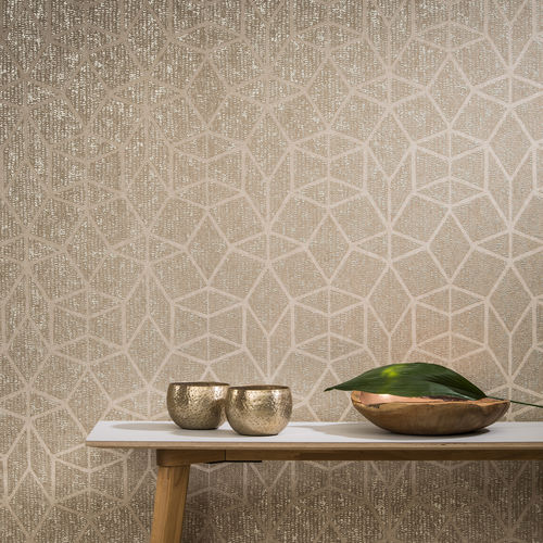 papel pintado moderno / de textil no tejido / con motivos geométricos / dorado