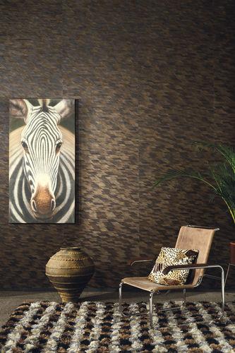 Papel pintado moderno / de fibras naturales / con motivos de la naturaleza / negro JUNGLE Omexco