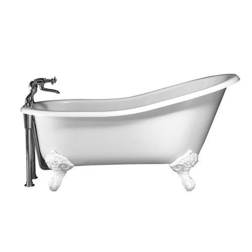 bañera con patas / ovalada / de material compuesto / de piedra