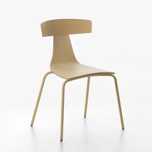silla moderna / tapizada / apilable / de madera