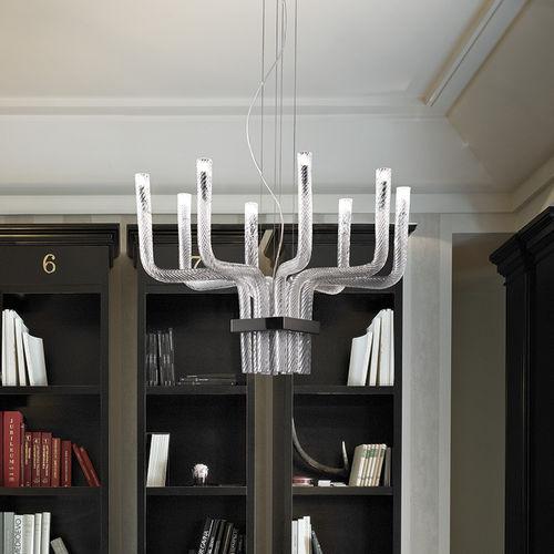 lámpara araña de diseño original / de cristal / de vidrio soplado / de metal