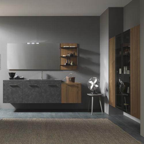 mueble de lavabo suspendido / de nogal / de HPL / moderno
