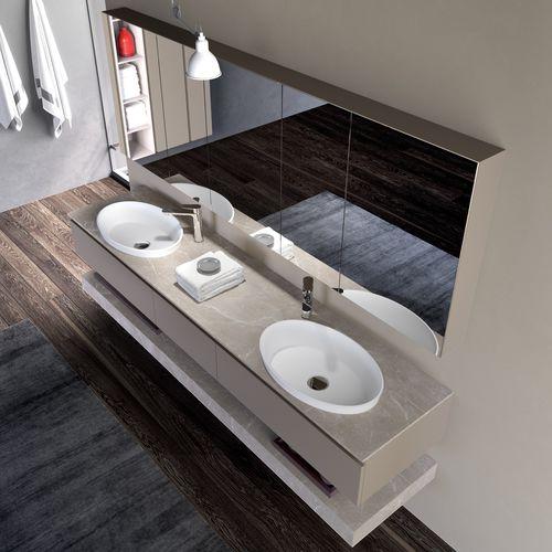 mueble de lavabo doble / suspendido / de HPL / moderno
