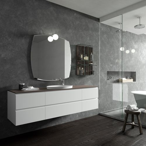 mueble de lavabo suspendido / de HPL / de vidrio / moderno