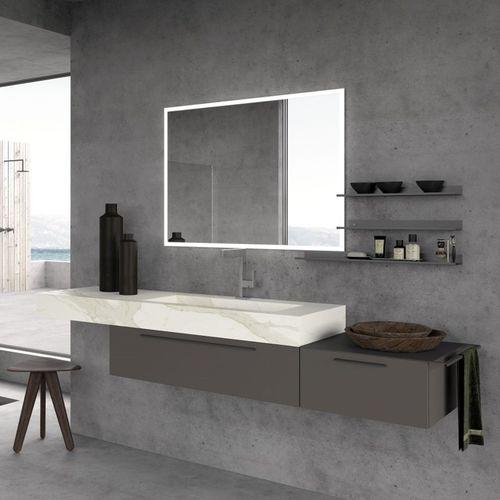 mueble de baño moderno / de madera / de pared / con cajón