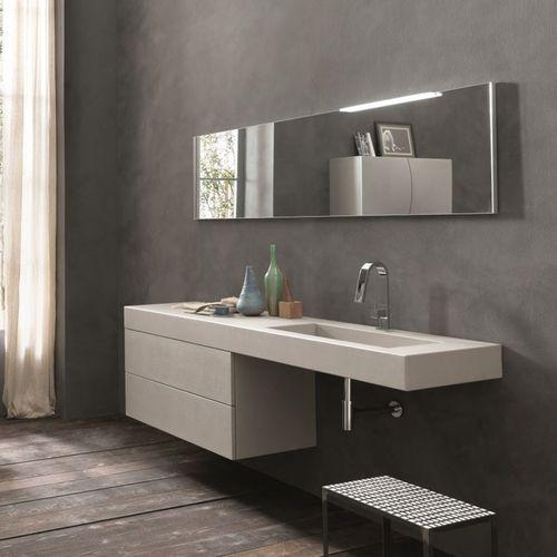 mueble de lavabo suspendido / de cemento / moderno / con espejo