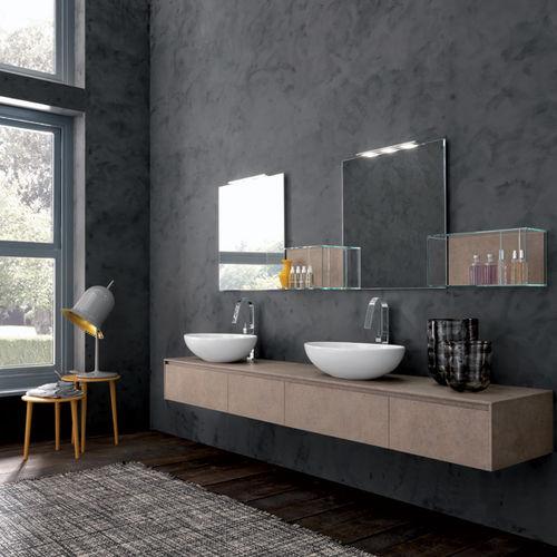 mueble de lavabo doble / suspendido / de madera / moderno