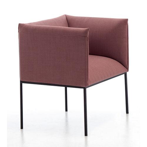 sillón moderno / de tejido / de acero pintado / con base central