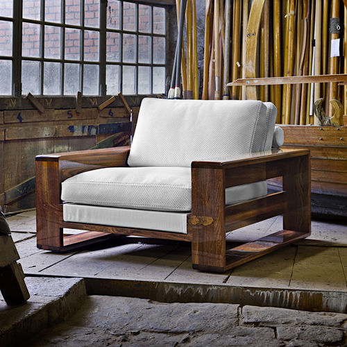 sillón moderno / Sunbrella® / de caoba / patín