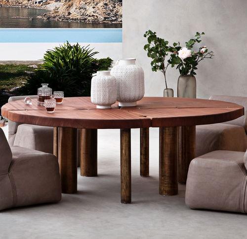 mesa de comedor moderna / de caoba / redonda / de jardín