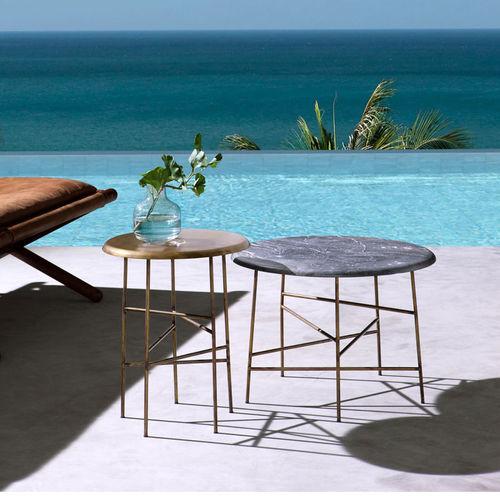 mesa de centro moderna / de latón / de mármol / redonda