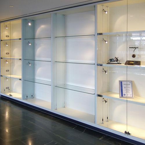 vitrina moderna / de vidrio / de acero inoxidable / profesional