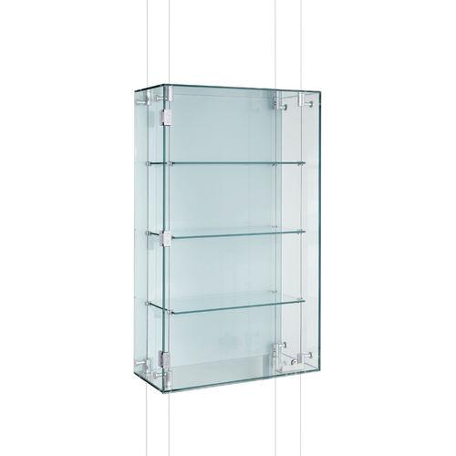 vitrina moderna / de pared / de vidrio / de aluminio