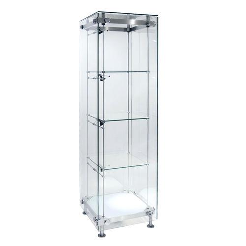 Vitrina moderna / de vidrio / de acero inoxidable / con luz SSG003.500 Shopkit