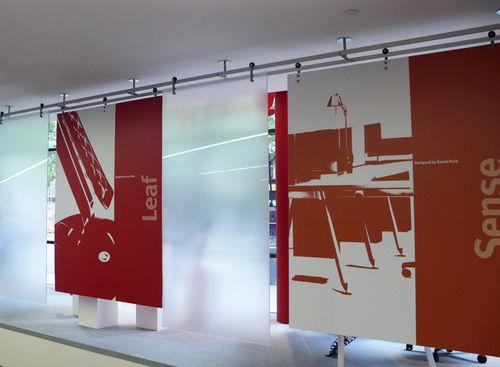 Tabique corredero / de vidrio / para oficina Shopkit