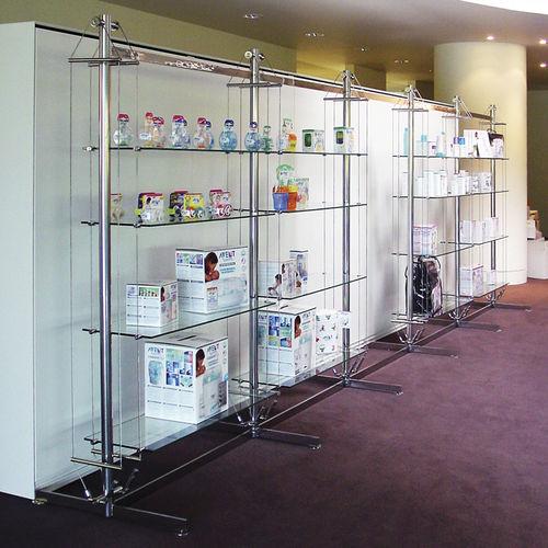 Estantería moderna / de vidrio / para comercio / profesional TWIN RIG MAST Shopkit