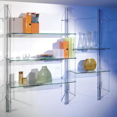 Sistema de repisas mural / moderno / de metal / de vidrio FIN Shopkit