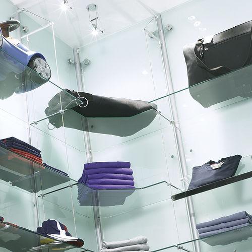 Estantería mural / moderna / de vidrio / profesional SINGLE RIG MAST Shopkit