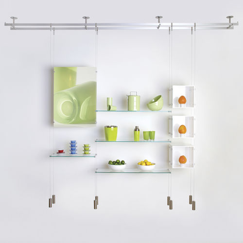 Sistema de repisas suspendido / moderno / de vidrio / para comercio CABLE Shopkit