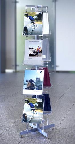 expositor para folletos / de acero inoxidable / para comercio