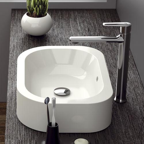 grifo monomando para lavabo / de latón cromado / para baño / con 1 orificio