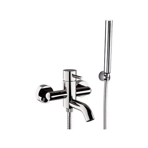 grifo monomando para ducha / para bañera / de pared / de latón cromado