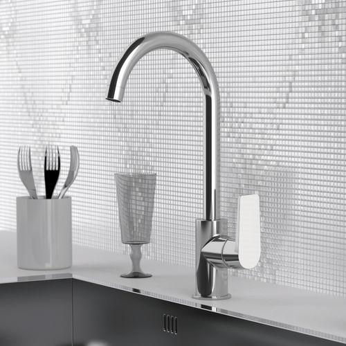 grifo monomando para lavabo / de metal cromado / de latón cromado / para cocina