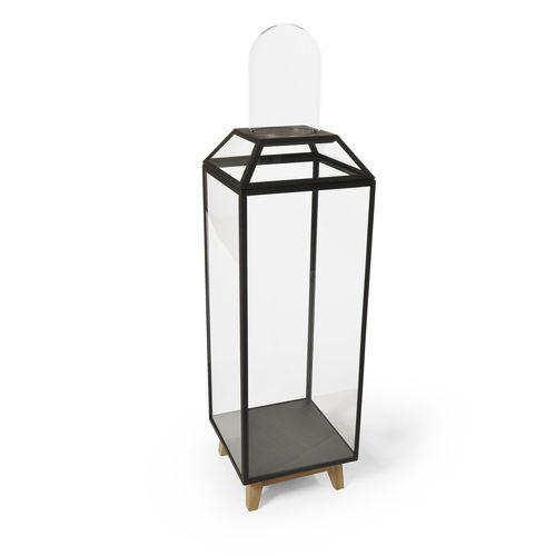 vitrina moderna / con pies / de roble / de vidrio