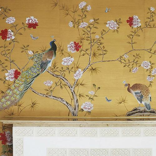 papel pintado clásico / de seda / con motivos florales / con motivos de la naturaleza
