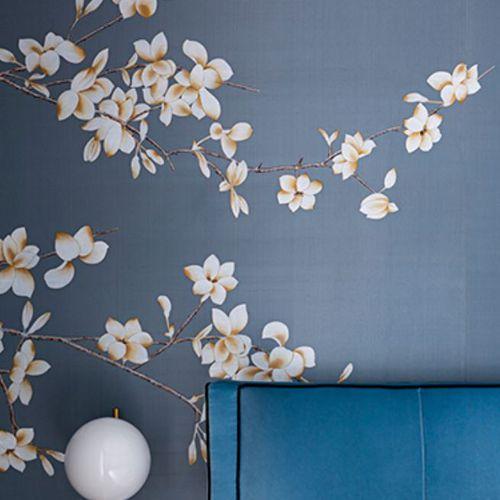 papel pintado oriental / de seda / con motivos florales / pintado a mano