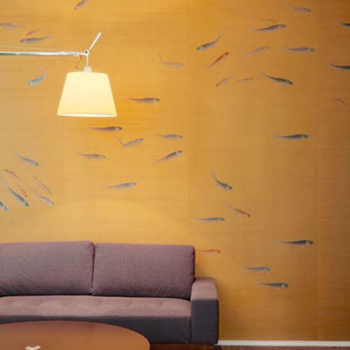 Papeles pintados clásicos / de seda / con motivos animales / hechos a mano FISH Misha handmadewallpaper