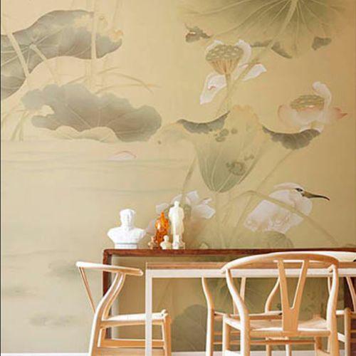 papel pintado clásico / de seda / con motivos de la naturaleza / con motivos animales